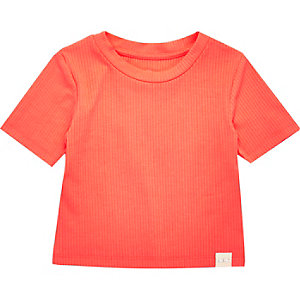 Mini girls fluro flame ribbed T-shirt