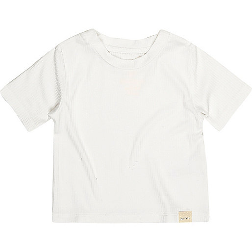 Mini girls white ribbed T-shirt