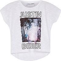 Mini girls white Bieber print t-shirt