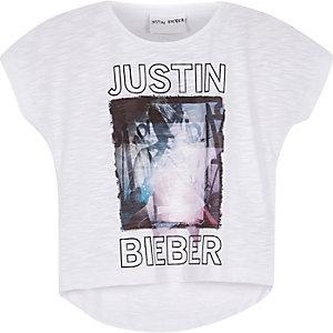 Mini girls white Bieber print t-shirt