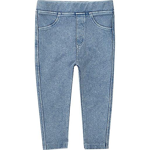 Mini girls light blue denim-look leggings