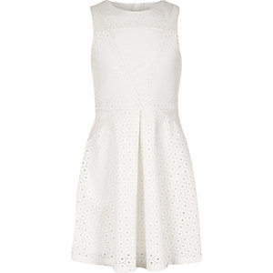 Girls white laser cut dress