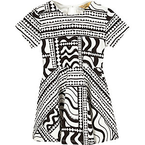 Mini girls black print skater dress