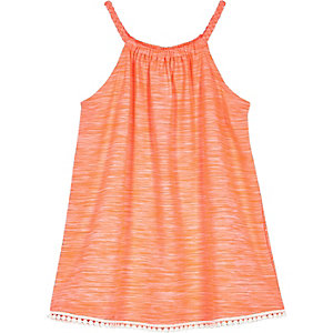 Mini girls coral trapeze dress