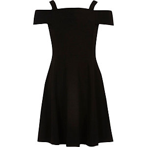 Girls black bardot dress