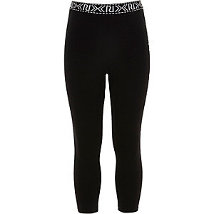 Girls black cropped branded leggings