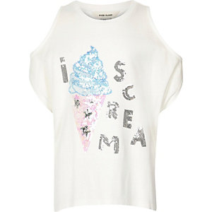 Girls cream kimono t-shirt