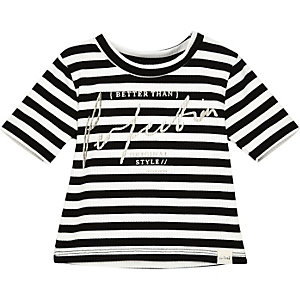 Mini girls white stripe t-shirt