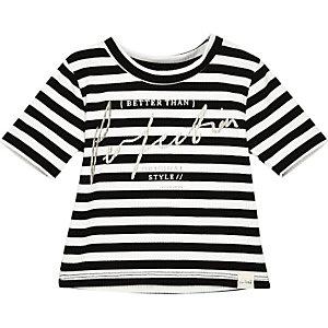 T-shirt à rayures blanc mini fille