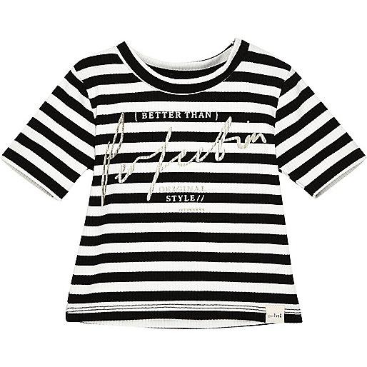 Mini girls white stripe t-shirt