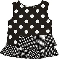Mini girls black polka dot peplum top