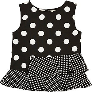 Mini girls black polka dot peplum top