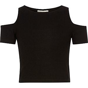Girls black cold shoulder crop top
