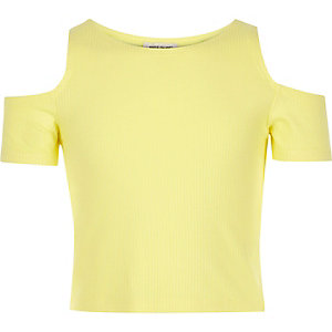 Girls yellow  cold shoulder crop top