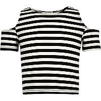 Girls cream stripe cold shoulder crop top