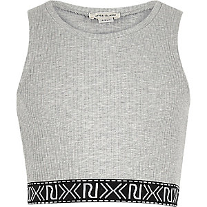 Girls grey branded crop top