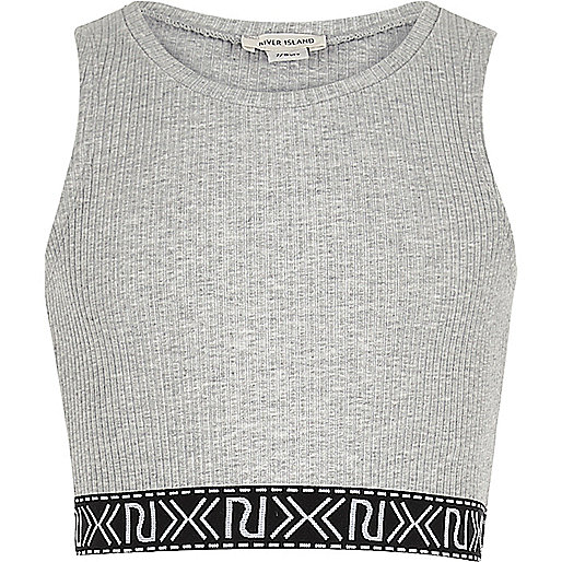 Girls grey branded crop top