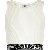 Girls white branded crop top