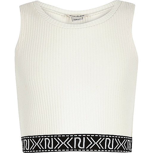 Girls white branded crop top