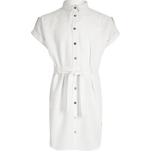 Girls white shirt dress