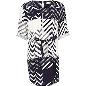 Girls navy print shirt dress
