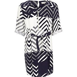 Robe chemise imprimée bleu marine pour fille