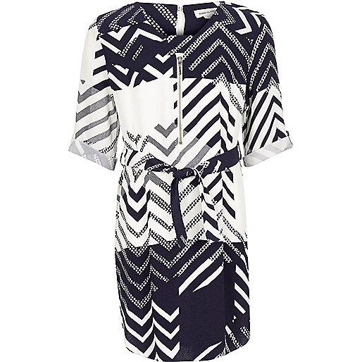 Girls navy print shirt dress