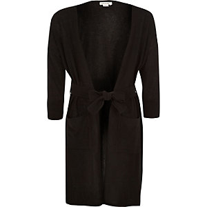 Girls black longline cardigan