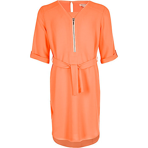 Girls bright pink zipped shirt dress