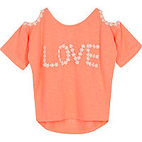 Mini girls coral cold shoulder top
