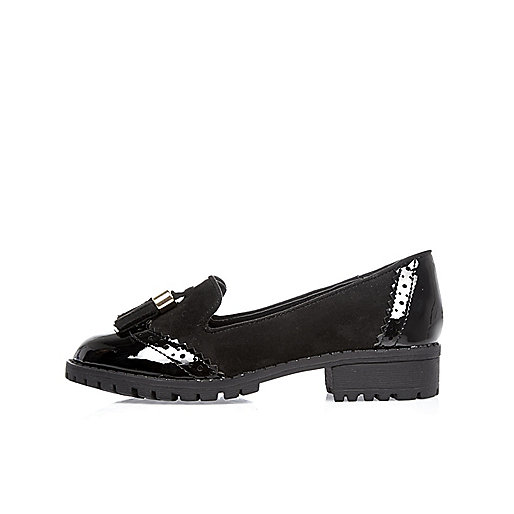 Girls black geek loafers