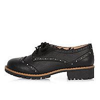 Girls black geek studded heel brogues