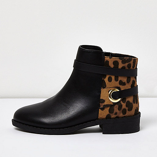 Girls black animal print ankle boots