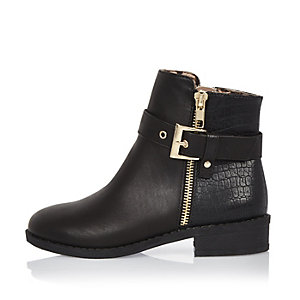 Girls black glam biker boots