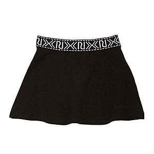 Mini girls black branded skater skirt