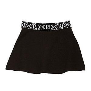 Mini girls black branded skater skirt