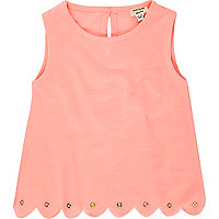 Mini girls coral eyelet top
