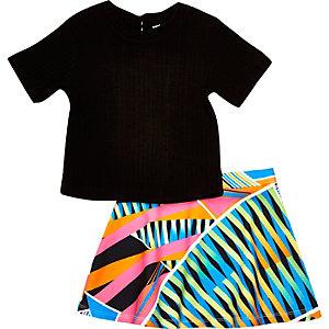 Ensemble jupe et t-shirt noir mini fille
