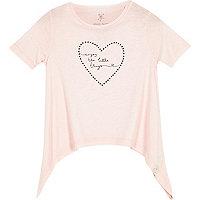 Mini girls light pink print t-shirts