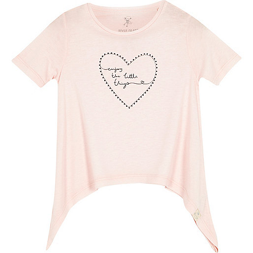 Mini girls light pink print t-shirts