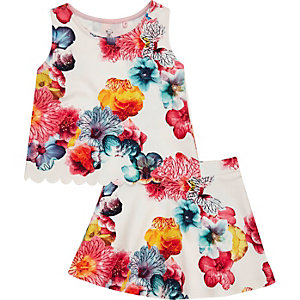 Mini girls pink print top and skirt outfit