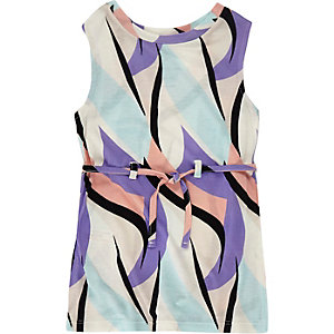 Mini girls purple print tunic