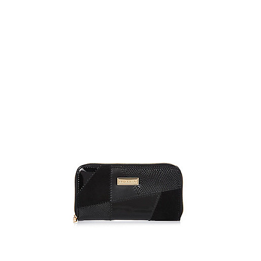 Girls black patchwork purse