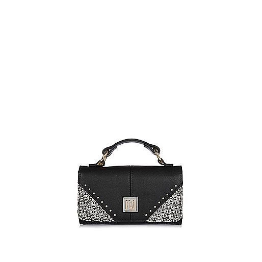 Girls black trifold purse