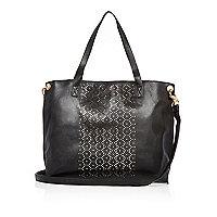 Schwarze Shopper-Tasche mit Lasercut-Design