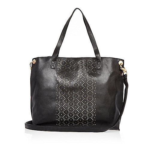 Girls black laser cut shopper