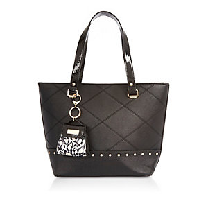 Girls black charm shopper handbag