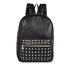 Girls black studded backpack