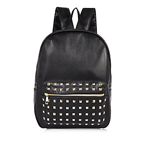 Girls black studded backpack