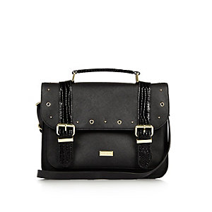 Girls black oversized satchel
